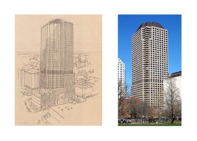 Obr. č. 1 Prvá inteligentná budova na svete Cityplace v Hartforde v štáte Connecticut, USA, Skidmore, Owings & Merrill, 1983